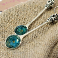 Resin Jewelry Earrings With Real Forget Me Not Flowers Rustic Spoon Dangle Kidney Long Earrings Natural Blue Flower Statement Something Blue