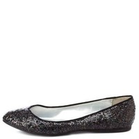 Qupid Pointed Toe Glitter Flats by Charlotte Russe