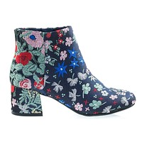 MayDayA Wild Floral Embroidered Color Stitching, Low Chunky Block Heel Ankle Bootie