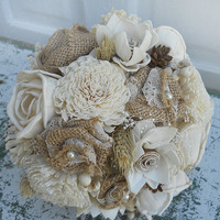 Country Wedding Bouquet, Sola Flowers, Burlap Roses, Wheat, Mini Pine Cones, Tallow Berries, Babies Breath. Made to Order.