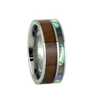 Mens Tungsten Wedding Band with Pearl Abalone Shell and KOA Wood Inlay