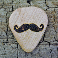 ONE ENGRAVED Wooden Guitar Pick - Mustache Design or Other Designs Available