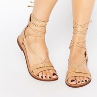 Pull&Bear Leather Lace Up Flat Sandal at asos.com