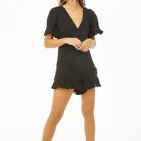 Button-Front Ruffle-Trim Romper