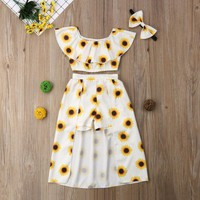 Sunflower Crop Top and Shorts Skirt Outfit