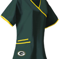 Green Bay Packers Mock Wrap Scrub Top and NFL medical scrubs
