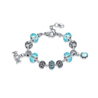 Mothers Day Gift Awesome Blue Crystal Pandora Style Bracelet [10893372623]