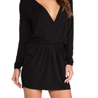 Black V-Neck Long Sleeve Lace-Up Dress with Pockets