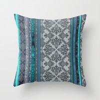Teal, Aqua & Grey Vintage Bohemian Wallpaper Stripes Throw Pillow by micklyn | Society6