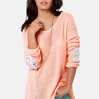 Patch Me if You Can Peach Sequin Sweater