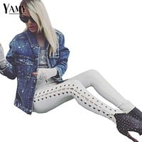 2018 Spring lace up high waist jeans Women Street Elastic cotton mom skinny jeans sexy ripped white black denim pencil pants