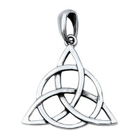 """Sterling Silver Wicca Circle Triquetra Pendant 22MM (Free 18"""" Chain)"""