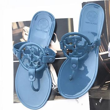 2020 new women's flip flops flat solid color jelly slippers shoes