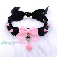 Spiked Thin Collar (PINK)