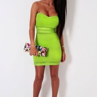 Gusto Apple Green Thick Bodycon Bandage Mini Dress | Pink Boutique