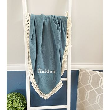Custom Dusty Blue Muslin Blanket with Embroidery