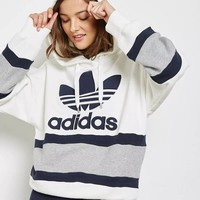 """Adidas"" Women Sport Casual Clover Letter Stripe Multicolor Loose Long Sleeve Pullover Hooded Sweater Sweatshirt Tops"