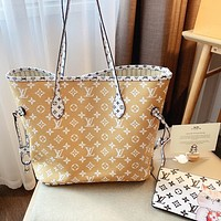 Lv New Shopping Bag-Big Flower New Color Matching-Delivery Pouch Beige