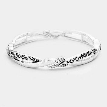 Braided Filigree Crystal Embellished Stretch Bracelet