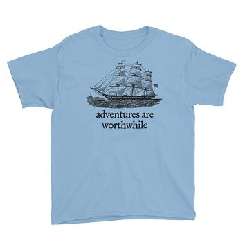 Adventures Are Worthwhile Aristotle Quote Youth Short Sleeve T-Shirt
