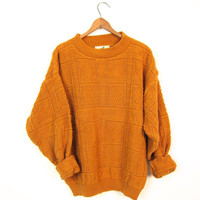 80s Golden Rod Yellow Sweater TEXTURED Cotton Pullover Boho Sweater Mock Neck Knit Top Jumper Golden Orange Sweater Top Womens Small Medium