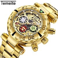 TEMEITE New Brand Mens Wristwatches Quartz Multifunction Stainless Steel Man Watches Waterproof Luxury Gold Chronograph Creative
