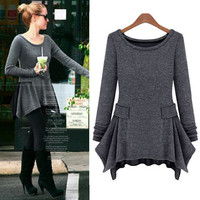 Dark Grey Asymmetric Chiffon Long Sleeve Sweater