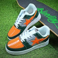 Bape Sta Sneakers Green Orange Shoes - Sale