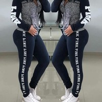 Autumn Long Sleeve Pink Letter print jackets + skinny legged long pants two pieces women's set sporty tracksuit outfits A9084