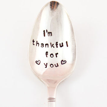 im thankful for you - Coffee Spoon- tea spoon- Vintage Silver Plated spoon