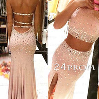 Custom Made 2 Pieces Rhinestone Prom Dress, Evening Dresses