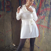 Cowl Neck Cotton Tunic Dress with long sleeves- Plus size and maternity sizes available