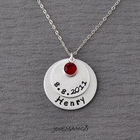 Mother Necklace mom of 1 Personalized birth stone necklace mommy necklace kids name, sterling silver, non tarnish aluminum safe allergy