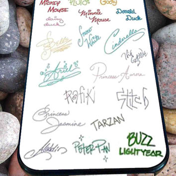 Disney all character signature art for iPhone 4/4s, iPhone 5/5S/5C/6, Samsung S3/S4/S5 Unique Case *76*