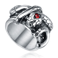 Stainless Steel Gothic Snake W. Red Crystal Ring