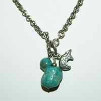 "Spirit animal Bear Vintage Turquoise Sterling Silver Necklace 18"" -US free shipping"