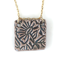Square Floral Modern Necklace -Firelight Pottery