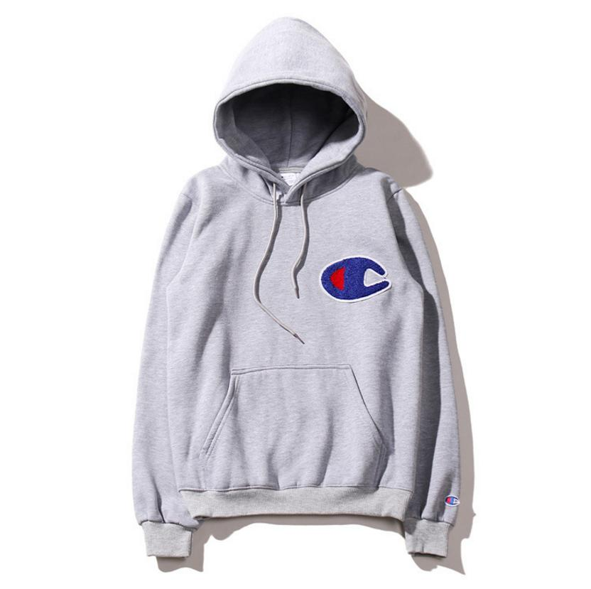 Image of Fashion Champion Women Men Grey Hoodie Embroidery Letters SweaterShirt