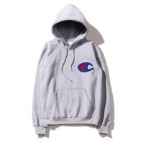 Fashion Champion Women Men Grey Hoodie Embroidery Letters SweaterShirt