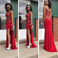 Sweetheart 2 Pieces Set Spandex Lady Sexy Prom Dresses Front Side Slit Girl Graduation Dresses Girl Wedding Party Gowns RP01