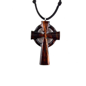 Celtic Cross Necklace, Celtic Cross Pendant, Celtic Wood Cross, Wood Cross Necklace, Celtic Jewelry, Hand Carved Cross, Cross Necklace