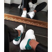 ALEXANDER MCQUEEN New Women's Tide Brand Muffin Thick Foundation Increased White Shoes(Velvet tail) Peacock green