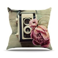 """Kess InHouse Cristina Mitchell """"I Have But Two Loves"""" Pink Tan Outdoor Throw Pillow, 16 by 16-Inch"""
