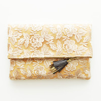 TENDER 3 / Lace folded clutch with leather tassel - Ready to Ship