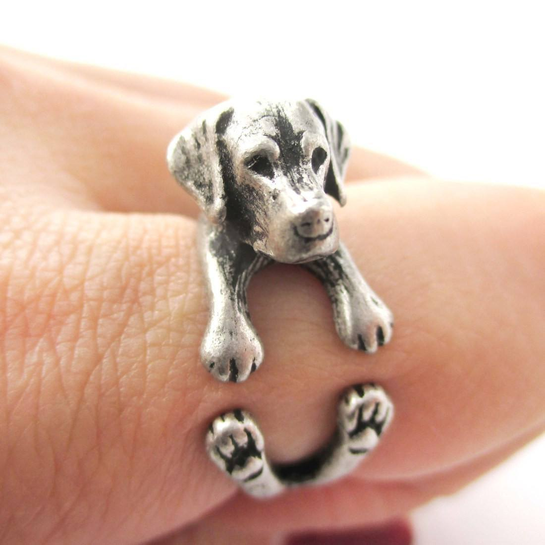 Image of Realistic Labrador Retriever Shaped Animal Wrap Ring in Silver | Sizes 4 to 8.5