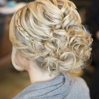 Messy updo, braided wrapped