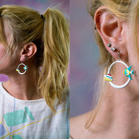 vtg 80s tropical fish cruise ship earrings, vintage 1980s hoop jewelry, urban outfitters tumblr fashion, vaporwave aesthetic soft grunge
