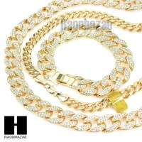 "Gold Lab Diamond Necklace 15mm 30"" 24"" Miami Cuban Link Chain, Bracelet"
