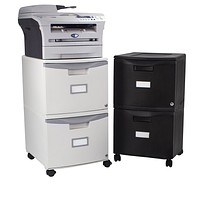2-Drawer Mobile Filing Cabinet with Lock, Letter/Legal Size