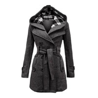 Envy Boutique Women's Military Button Hooded Fleece Belted Jacket Charcoal Grey Check 16